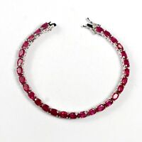 Oval 6x4mm  Natural Pink Ruby Gemstone Solid 925 Sterling Silver Tennis Bracelet