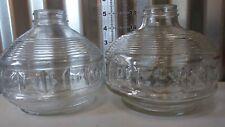"2 Vintage Kaadan Clear Glass Kerosene Oil Lamp Bases · 5"" Tall · Preowned Block"
