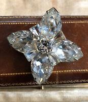 Vintage Silver Tone Large Diamanté Statement Brooch