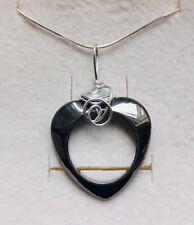 Stunning Hematite Heart Pendant & 925 Silver Chain