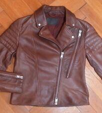 AllSaints Women's Oxblood ALDER Leather Biker Jacket UK 10