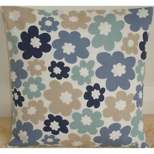 "Cushion Cover 16"" Covers Blue Duck Egg Navy Beige Flowers 16x16"