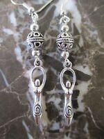 Beautiful Bali Bead Tibetan Silver Goddess Artisan Hand Crafted Earrings-Wicca