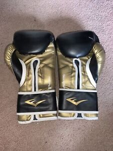 Everlast Training Boxing Gloves 16oz Black And Gold