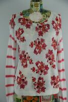 Ann Taylor Loft Pink Ivory Multicolor Striped Floral Long Sleeve Sweater Size M