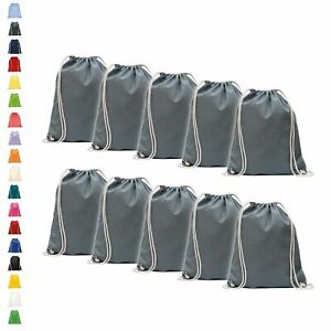 10er Pack Baumwoll Turnbeutel 38 x 46cm unbedruckt mit Kordelzug Jutebeutel