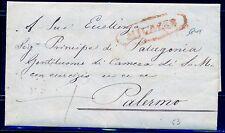 1839 Rara Prefilatelica da Milazzo a Palermo MSAG Firmata dott. Buonocore