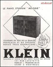 Publicité KLEIN  Piano Instrument de Musique  photo vintage ad 1941 -9i