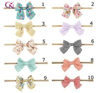 Newborn Nylon Bow Baby Girl Toddler Child Kid Stretch Headband Hair Accessory