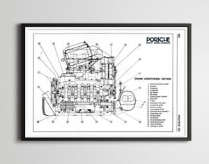 "Porsche 911 Engine Diagram POSTER! (24"" x 36"" or smaller) - Vintage - Antique"