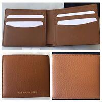 Ralph Lauren Purple Label Brown Pebbled Calf Leather Bifold Wallet Italy