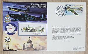 Belize: Battle of Britain Night Blitz flown cover; 10c Fairey Battle stamp