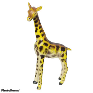 "Giraffe Animal Figure Plastic Gold Brown Rubber Zoo Africa Figurine 4"""