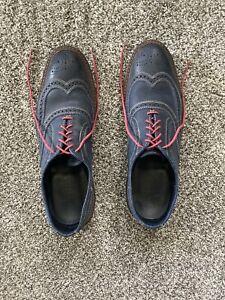 Allen Edmonds Men Neumok Oxford Wingtip Shoes Size 12 D Blue Red Laces Leather
