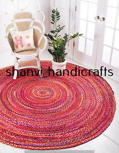 Braided Handmade Reversible Cotton Circle Rug Floor Round 6 Feet Area Rug Carpet