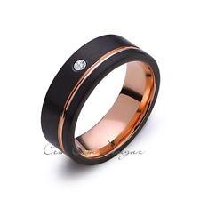 8mm,Mens,Diamond,Black Brushed,Rose Gold,Tungsten Ring,Rose Gold,Wedding Band,Co