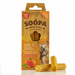 Soopa Healthy Dental Sticks for Dogs Carrot & Pumpkin Organic Low Fat Oral