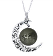 Moon MANDALA Pendant Necklace Cabochon Glass silver plated chain