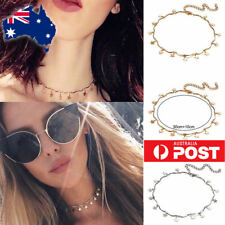Gold/Silver Star Charm Minimalist Chain Tiny Choker Collar Layer Necklace