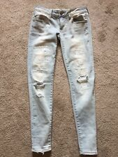 EUC Women's Destroyed AMERICAN EAGLE Super Low Jeggings Size 4 STRETCH 28 X 29