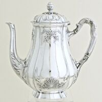 19C Antique French Sterling Silver Tea Coffee Pot by L. Coignet Louis XIV Shell