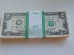 ONE STACK (100) 2017A TWO DOLLAR $2 Notes MPLS. UNCIRCULATED BEP **BIRTH YEARS**