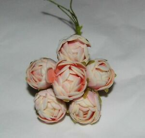 a PINK Millinery felt silk CABBAGE ROSES 6 flower bunch Cissy doll hats & crafts