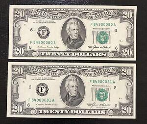 1985 Atlanta $20 Federal Reserve Note Dollars - Lot Of 2 Consecutive (LOT-118)