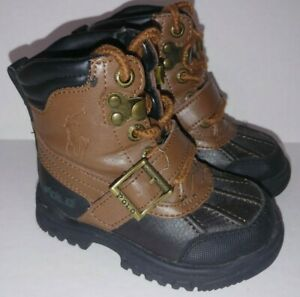 Polo Ralph Lauren Conquest Wheat Tan Black Zip Up Strap Boots Toddler Size 5