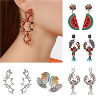 Women Fish Bird Crystal Large Drop Ear Stud Tassel Hanging Statement Earrings ##