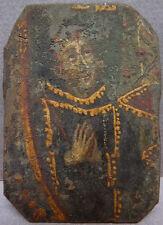 Petite peinture religieuse sur métal 17e siècle Saint miniature