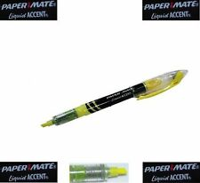 New & Original 5 x YELLOW HIGHLIGHTER MARKER PENS LIQUID ACCENT by PAPERMATE