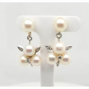 Estate $1100 14K White Gold Cultured Pearl Diamond Earrings