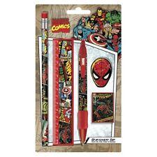 Marvel Comics Retro Schreibwaren Set 5 Teile - Spiderman Gummi, Stift, Bleistift