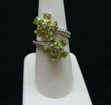 Size 7 Natural Peridot & White Topaz Sterling Silver Ring  2.53cts