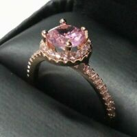 1.25 Ct Round Pink Sapphire Ring Women Wedding Jewelry Gift 14K Rose Gold Plated