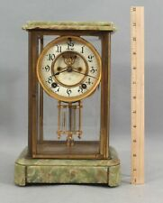 Antique Ansonia Green Agate Crystal Regulator Mantle Clock, Open Escapement Nr