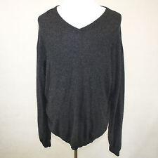 Pronto-Uomo 2-Ply 100% Cashmere Sweater Dark Gray V-Neck 2XLT