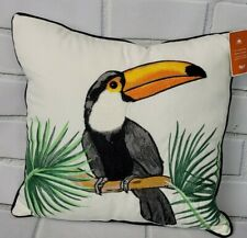 Pier 1 Tropical Toucan Embroidered Outdoor Pillow New