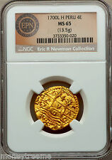 """PERU 4 ESCUDOS 1700 """"FINEST OF 3 KNOWN"""" NGC 65 ERIC P NEWMAN! GOLD DOUBLOON COIN"""