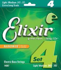 ELIXIR 14087 NANOWEB COATED BASS STRINGS, EX. LONG SCALE LITE/MEDIUM 4's  45-105