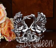 Italian Silver Ceramic  Pair of Swan Ornament Figurine Wedding Gift