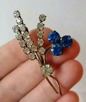 VINTAGE 40s Blue Clear Diamante Paste Flower Spray Posy Gold Retro Pin Brooch