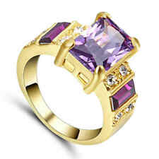 Size 8 Jewelry Fashion Amethyst Halo 10K yellow gold filled Band Wedding Ring