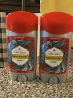 Lot of 2 Old Spice Wild Collection Hawkridge Deodorant 2.6 oz Red Cap Blue Deo
