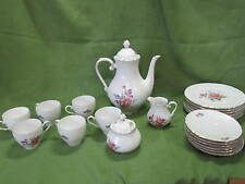 BAVARIA SCHUMANN ARZBERG GERMANY FLOWER COFFEE/TEA SET 6 CUPS SAUCERS KETTLE