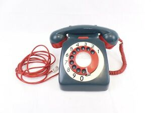 Vintage/retro 1974 turquoise, Red & Ivory 746 GNA 74/1 GPO Rotary Dial Telephone