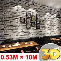 10M 3D Wallpaper Brick Stone Effect Wall Sticker Paper Roll Home Art Decoration