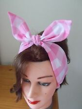 HEAD SCARF NECK HAIR BAND BOW PINK GINGHAM LINED ROCKABILLY BUNNY SWING PIN UP