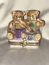 New ListingRochard Limoges France Hand Painted Bears Reading and Playing Drum Trinket Box